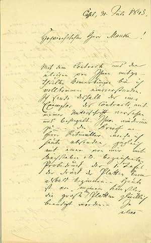Autograph letter signed: Stilling, Benedikt