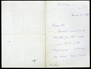 Autograph letter signed to Gerald Massey: Huxley, Thomas