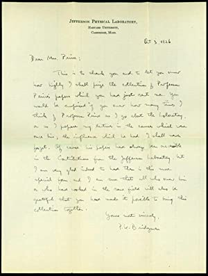 2 autograph letters signed to Mrs. Benjamin Osgood Peirce: Bridgman, Percy W.