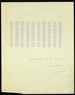 Primes.calculated by the EDSAC 10 May 1949 AND The coordinating orders (first sheet only): Wheeler,...