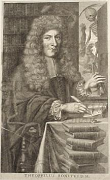 Engraved portrait of Bonet writing at his desk surrounded by books. French. 17th century. 32x18.5cm...