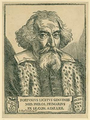 Woodcut portrait by Coriolano: Liceti, Fortunio