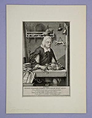 Fine engraved portrait of the blind naturalist at his work table: Rumph, George Everhard