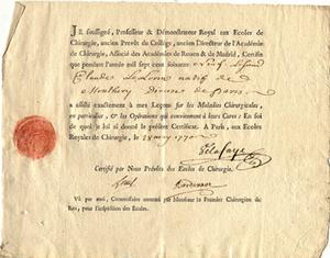 4 Printed certificates for attending lectures in surgery signed by Louis: Louis, Antoine