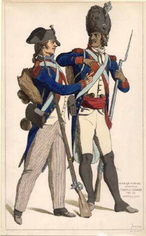Republique francaise infanterie. Fusilier et Grenadier 1792-99. Estampe du temps. Hand-colored ...