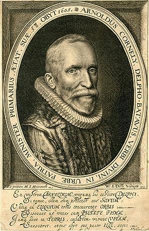 Engraved Portrait by W. I. Delff after M. I. Mierevelt: Cornely, Arnoldus