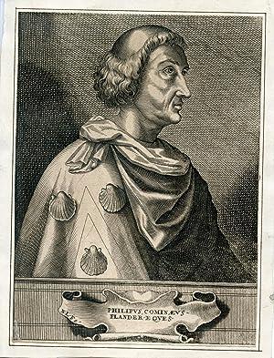 """Portrait engraved by """"N. L."""": Cominaeus, Phillipus (Philippe de Commines)"""