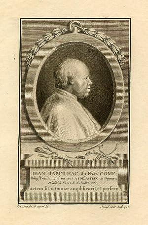 Engraved Portrait by Ingous Jr. after Gu. Fraiche: Baseilhac, Jean, dit Frere Come
