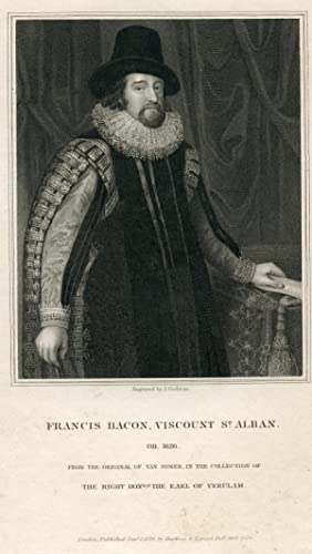 Viscount St. Alban. Engraved Portrait by J. Cochran after Van Somer: Bacon, Francis