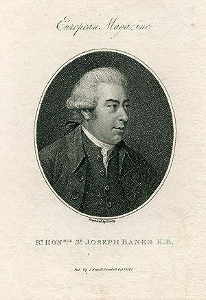 Engraved Portrait by Ridley. European Magazine: Banks, Joseph