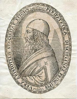 Woodcut portrait cameo: Aristotle