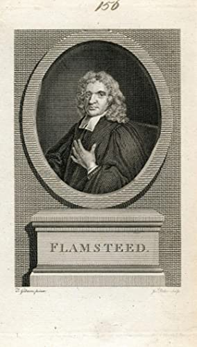 Engraved Portrait by Joseph Baker after J. GIbson: Flamsteed, John