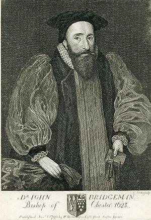 Bishop of Chester: 1623. Engraved Portrait by T. Trotter: Bridgeman, John