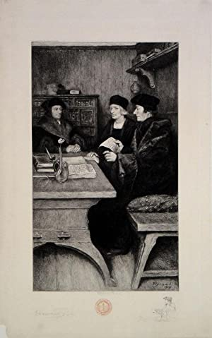 Erasmus meeting with Jean Colet and Thomas More. Etched by W. Brickell after Howard Pyle: Erasmus