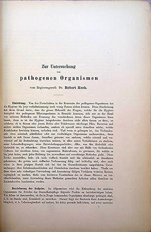 Zur Untersuchungen von pathogenen Organismen. With: Ueber disinfection I.: Koch, Robert
