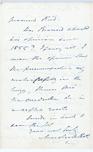 4 autograph letters to Dr. Harley on scientific subjects: Hall, Marshall