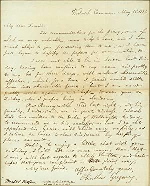 Autograph letter signed to Charles Hutton: Gregory, Olinthus Gilbert