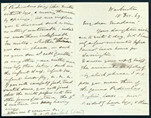Autograph letter signed to an unidentified correspondent: Beaufort, Daniel Augustus