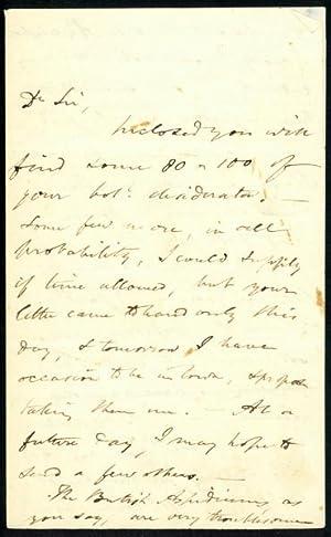 Autograph letter signed to John Latham Jr.: Watson, Hewett Cottrell