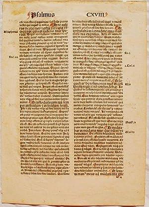 Printed Leaf From Cassiodorus's Psalterium in Expositio.: Flavius Magnus Aurelius