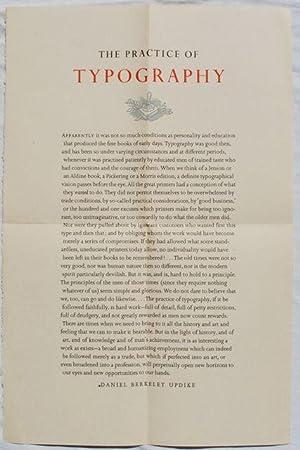The Practice of Typography.: Daniel Berkeley Updike.