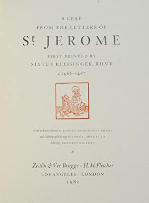 A Leaf from the Letters of St. Jerome, First Printed by Sixtus Reissinger, Rome, c. 1466-1467. Wi...