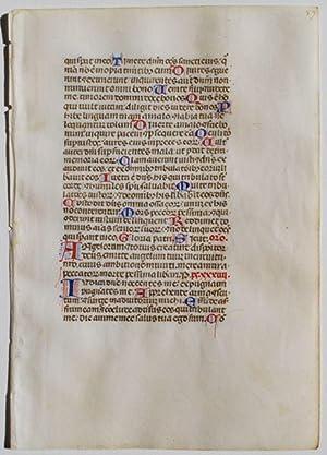 Single Manuscript Leaf from an Italian Psalter.