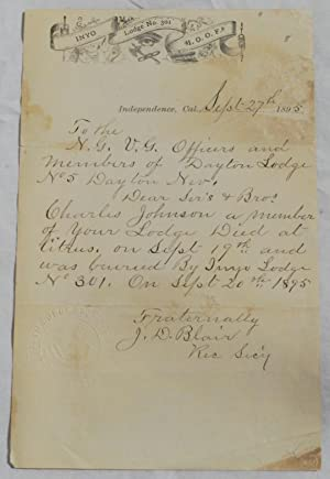 Manuscript Letter, Signed on Inyo County Masonic: Inyo County Lodge