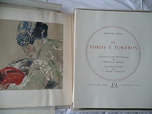 DE TOROS Y TOREROS , Ilustraciones Originales De Manolo Hugue. Litografias Realizadas Por Camilo ...