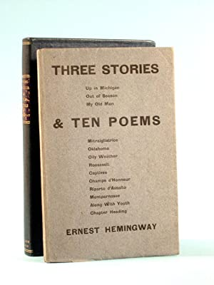 THREE STORIES & TEN POEMS.: Hemingway, Ernest.