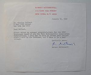 Typed Letter Signed: MOTHERWELL, Robert HUELSENBECK,