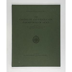 The Gavimath and Palkigundu Inscriptions of Asoka.: Turner, R.L. (Editor)
