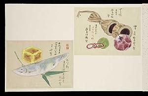 Three accordion-style oblong folio albums (355 x: SWEETS, Japanese)