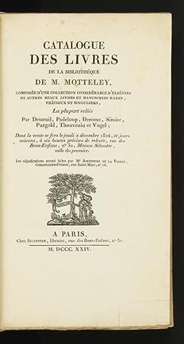 Catalogue des Livres de la Bibliothéque de: AUCTION CATALOGUE: MOTTELEY,