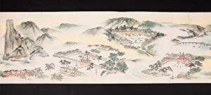 Two finely illustrated scrolls, with title label: KYOTO LANDSCAPES