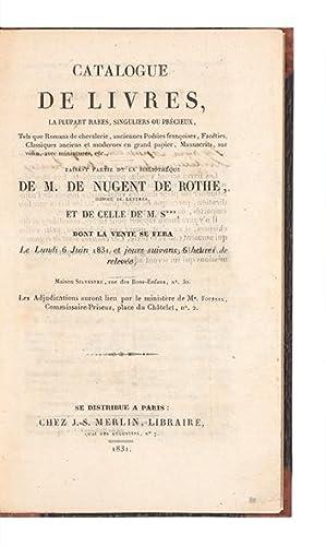 Catalogue de Livres, la plupart rares, singuliers: AUCTION CATALOGUE: NUGENT