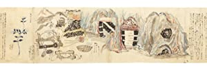 Illustrated manuscript scroll on paper, with a number of paintings in brush & wash of various colors