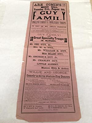 Playbill for Canadian vaudeville/music hall: Belleville, Ontario: Music Hall, Tuesday Eve., Augus...