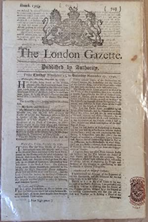 Three copies of The London Gazette, reporting the resolution of the first Nootka Crisis of 1789-1790