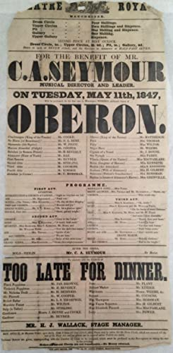 Broadside. Theatre Royal Manchester. Tuesday May 11th 1847. Weber?s opera Oberon, and the farce T...