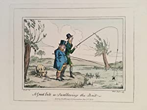 Fishing caricature.  A Good bite or Swallowing the Bait ; two lugubrious gents fishing, one catch...