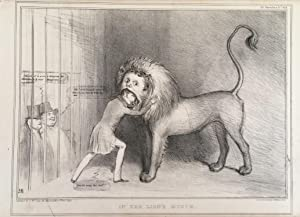 Menagerie/circus caricature. In the Lion?s Mouth No 413. Lithograph after John Doyle 1797-1868