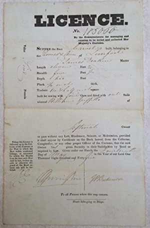 Liverpool shipping. Licence 185000 printed form and ink infill. ?By the Commissioners of managing...