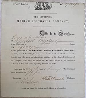 Liverpool Marine Assurance Company ; two share certificate 1844. Engraved certificate on laid pap...