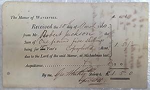 Manor of Wavetree printed rent 1860 receipt,
