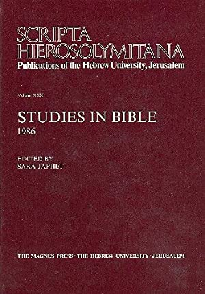 Studies in Bible, 1986 [Scripta Hierosolymitana, v. 31.]