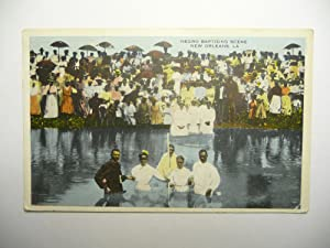 Negro Bapitizing Scene, New Orleans LA Postcard, (1917)