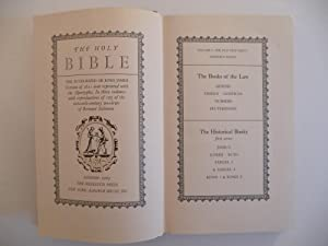 The Holy Bible. The Authorized or King James Version of 1611 now reprinted with the Apocrypha. In ...