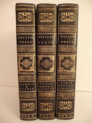 British Poets, (Three Leather Bound Volumes): Darwin, Pinder, Byron, White, Cowper, Burns, Robinson...