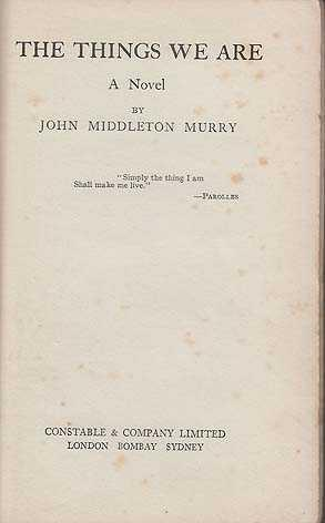 Things We Are: Murry, John Middleton